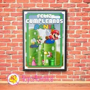 Cartel Cumpleaños Mario Bross
