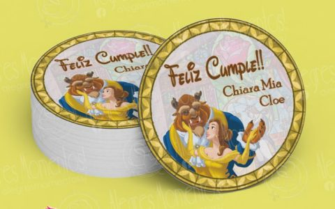 Stickers Personalizados Candy Bar La Bella y la Bestia