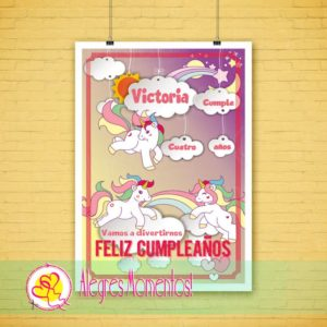 Cartel Cumpleaños Unicornios Impreso