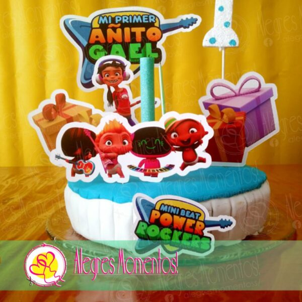 Topper cake Pinchos Mini Beat Power Rockers x 4 unidades_